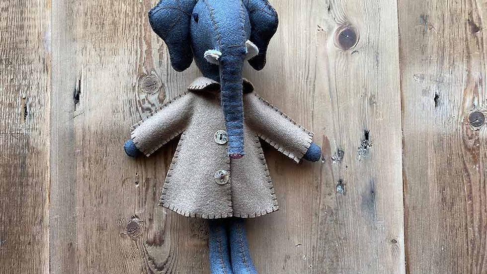 Elephant in Jacket 'hanging and felt' (Ellie)