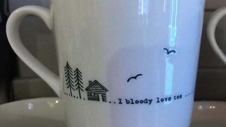 East of India Porcelain Mug 'Bloody love tea'