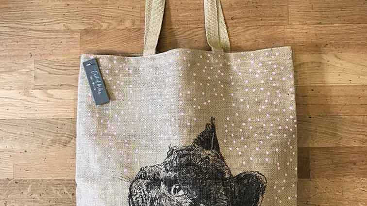 Large Jute Cat Bag from East of India