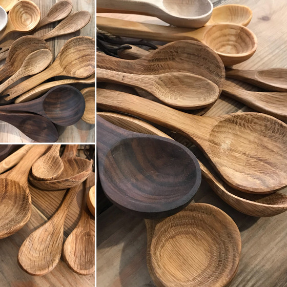 Hand carved solid wooden spoons in store