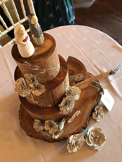 Handmade Solid Oak Wedding Cakes