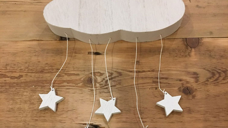 Wooden cloud with stars (Wall hanging)