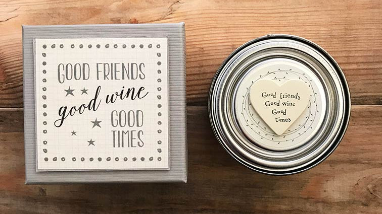 Boxed & Tin candle (Good Friends, Good Wine,Good Times...)