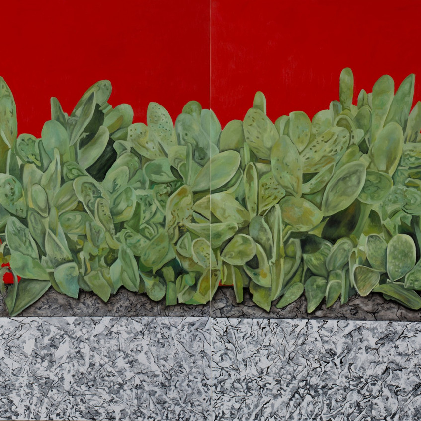 Fouad Agbaria, Survival, 2018, oil on canvas, 170x240 cm (diptych)
