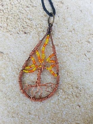 Open hoop fire tree of life; teardrop pendant