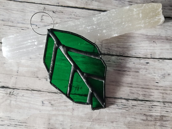 Slightly imperfect stained glass leaf