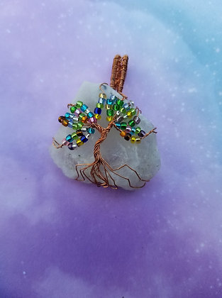 Raw rainbow moonstone tree of life with rainbow beads