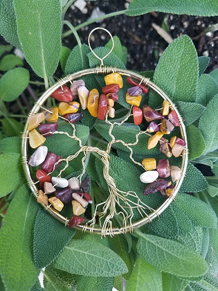 "Mookaite and gold tree of life, 3"" diameter, ornament/window decoration"