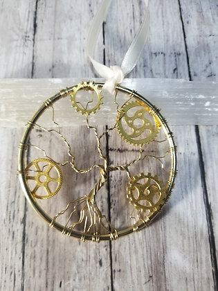 """3"""" steampunk gold tree of life, ornament/decoration"""