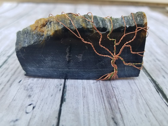 Free standing blue tiger eye piece with tree of life