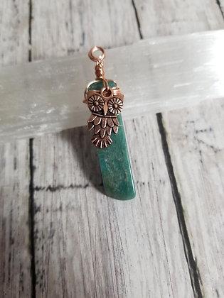 Amazonite pendant with owl charm