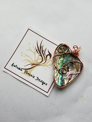Reversible Abalone shell wire wrap with copper