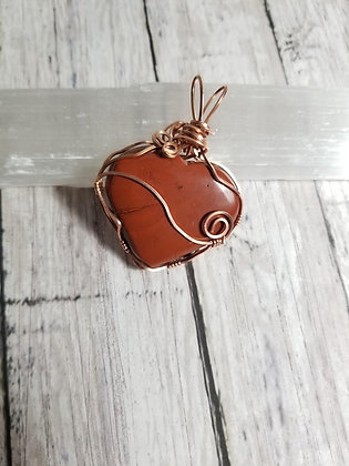 Red jasper copper wire wrapped heart pendant necklace