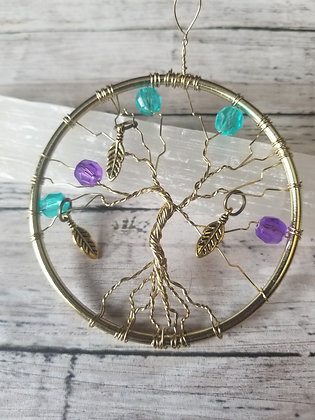 """""""Three Feathers"""" gold tree of life, 3"""" ornament/decoration"""