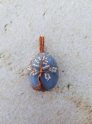 Angelite tree of life pendant