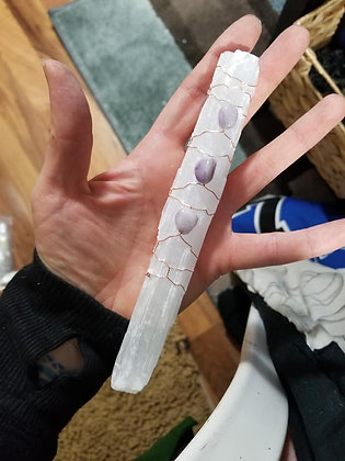 "6"" Selenite stick with amethyst"