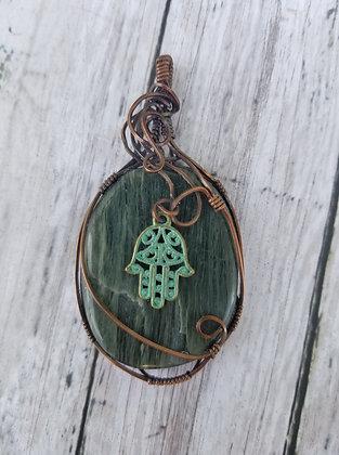 Green kyanite or hair jasper with hamsa