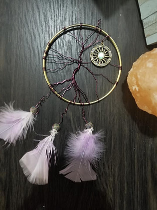 Purple and gold tree of life, with sun charm