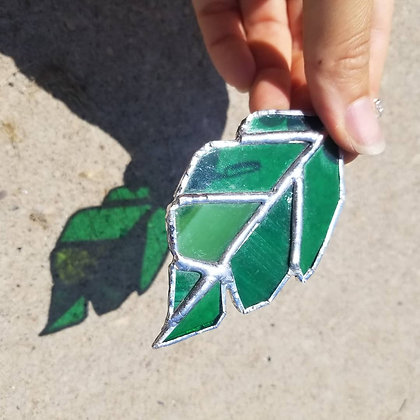 Imperfect leaf stained glass sun catcher
