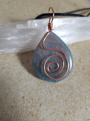Aqua-dyed fire agate with copper swirl