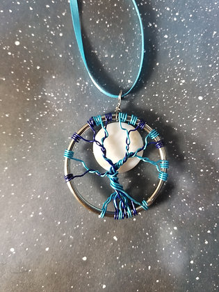 """2"""" blue tree of life and full moon ornament/decoration"""""""