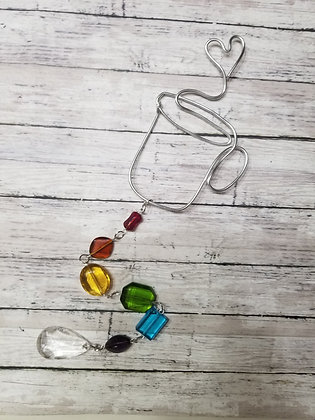 Wire coffee mug and rainbow beads suncatcher