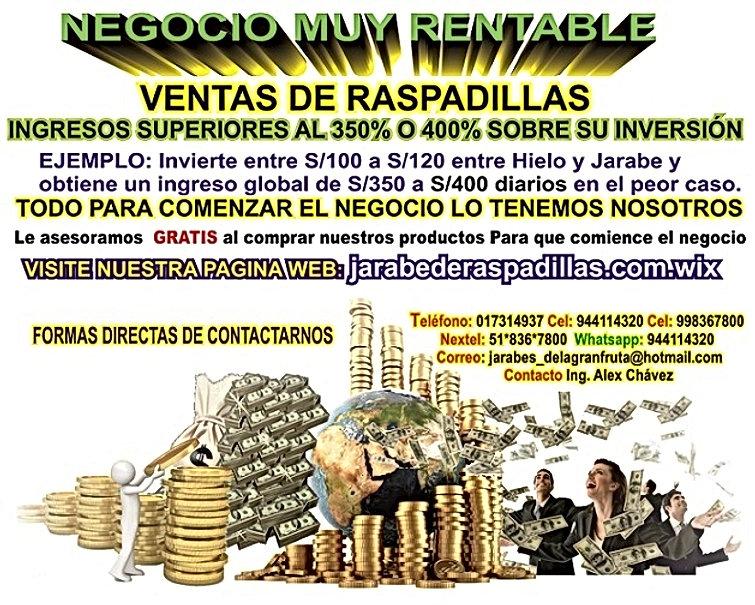Negocios-Rentables,Raspadilleras, Raspadillas, Perú