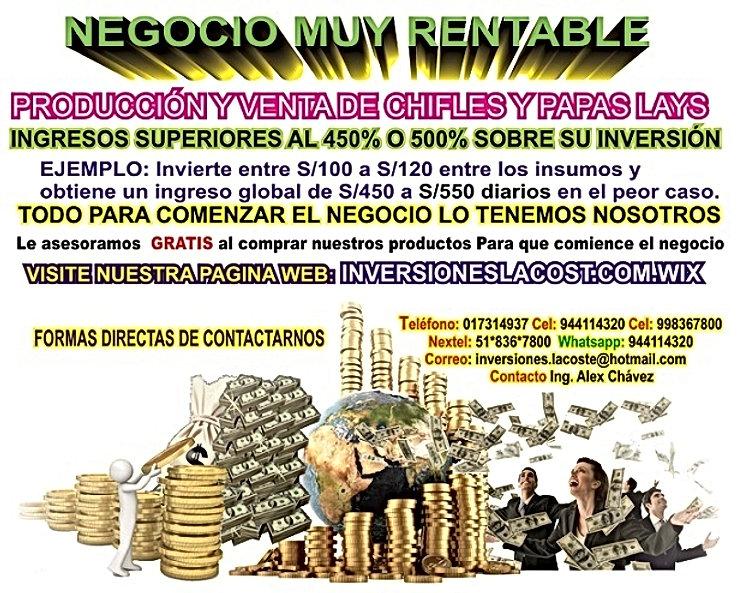 Negocios-Rentable, Chifles, Maquina-Chiflera, Perú