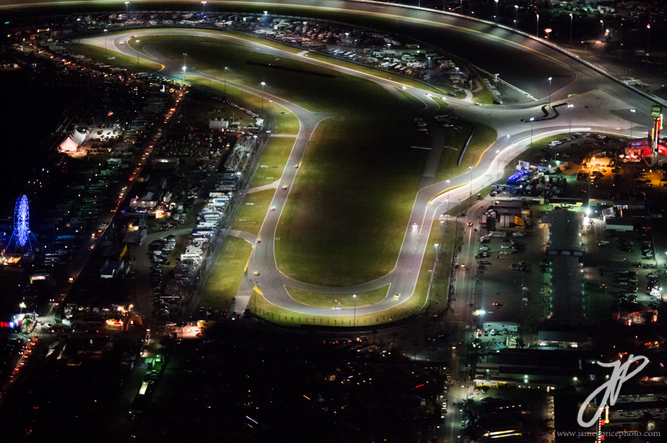 January 27-31, 2016: Daytona 24 hour: Daytona speedway at night.