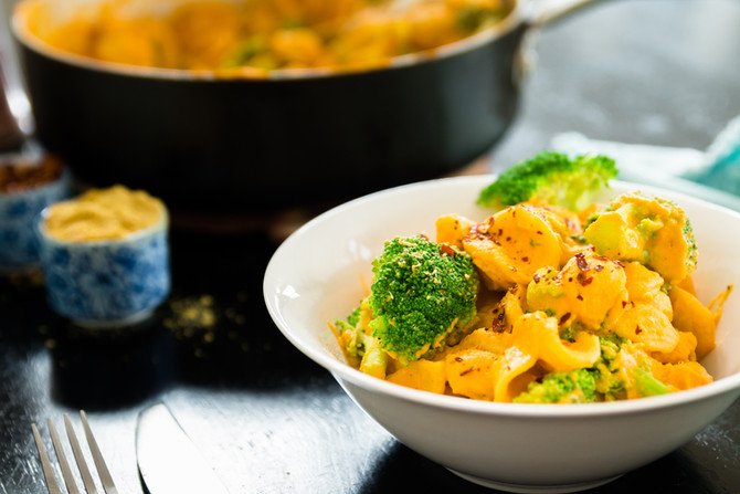 "OIL FREE PASTA WITH BROCCOLI AND ""CHEESE"" SAUCE"