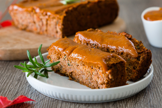 VEGAN THANKSGIVING LENTIL LOAF WITH GRAVY