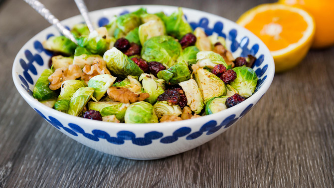 OVEN ROASTED BRUSSELS SPROUTS with Maple Syrup, Walnuts & Cranberries