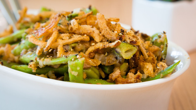 FRESH GREEN BEAN CASSEROLE WITH FRENCH FRIED ONIONS