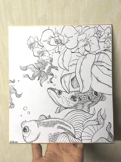 生絵 胡蝶蘭と魚