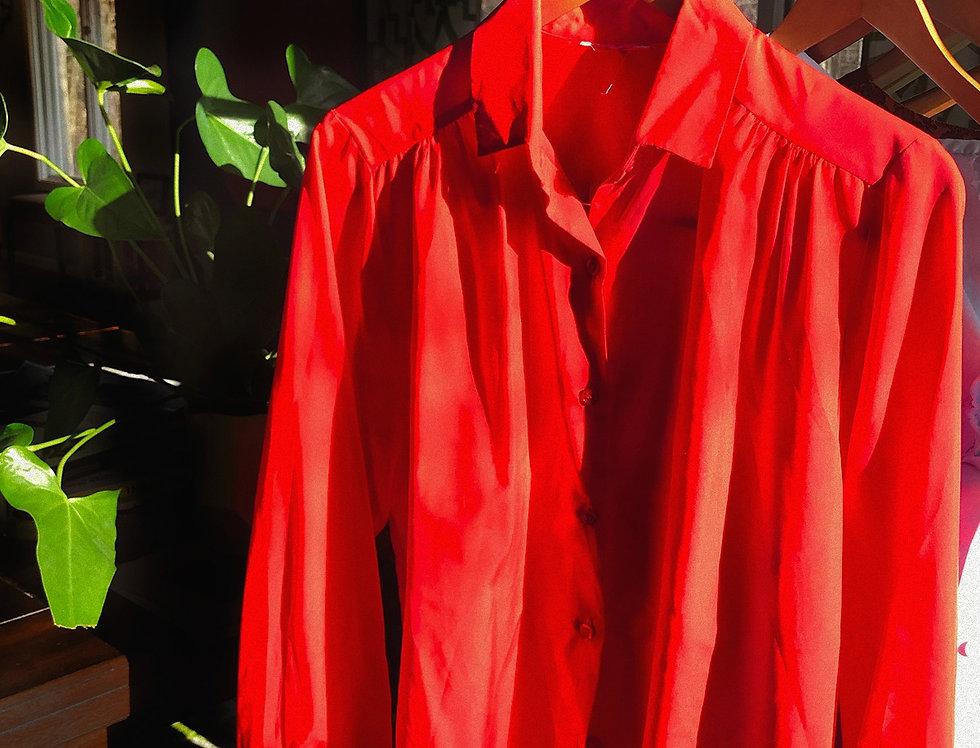 Poppy Red Silk Top