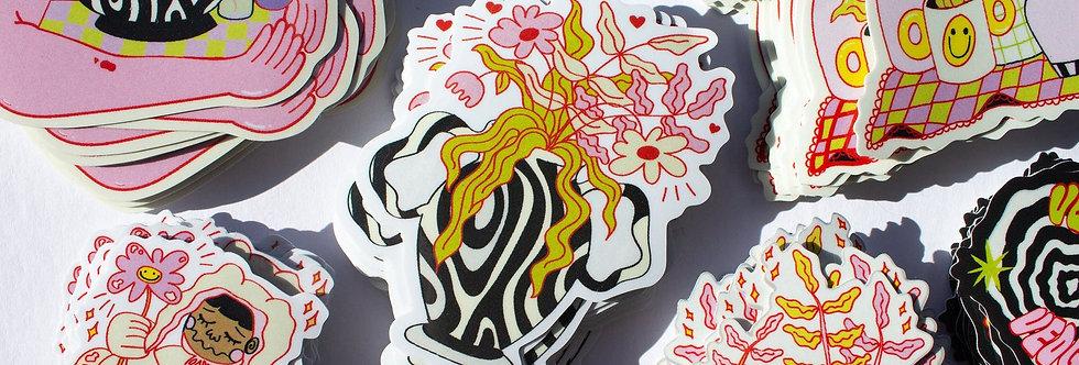 Groovy Plant Vinyl Stickers