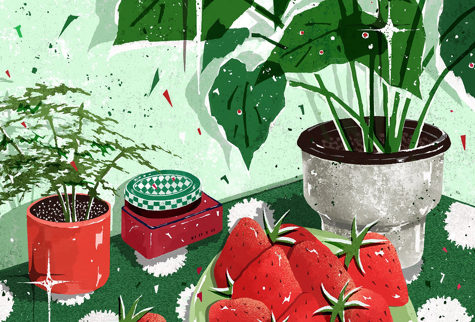 Strawberry and Monstera