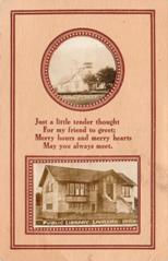 Laurens, IA Carnegie library on the lower half of a postcard, with a round vignette of a church above