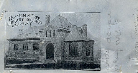 Ogden Free Library Building, Walton, NY printed on an aluminum postcard, postally used.