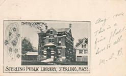 Sterling, MA public library, on an early postcard