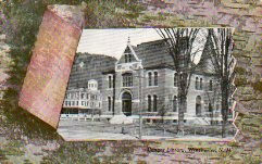 Self-framed (birch bark) postcard of the Conant Library, Winchester, NH