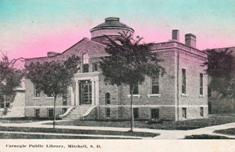 Unattributed postcard of Mitchell, SD's Carnegie library building