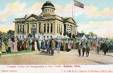 The inauguration of Gov. Frantz, with the Guthrie, IT carnegie library in the background