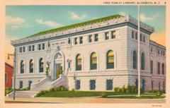 1933 Curt Teich linen finish postcard of the Elizabeth Carnegie Library.