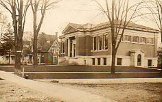 Aram Public Library, Delavan, WI on a photo postcard
