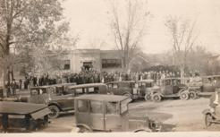 Lakota, ND RPPC of a celebration in front of the town library.