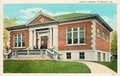 Plymouth, Indiana Canegie libray postcard by Curt Teich