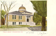 Stevens Point, WI Carnegie building, badly retouched on an early E.C. Kropp postcard.