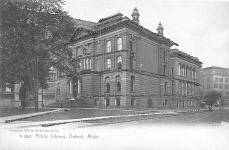 Glitterized Rotograph postcard of Detroit Public Library.