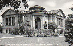 Coleraine, MN Carnegie library, on corner lot